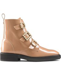 Russell & Bromley Women's Pink Leather Glamorous Gem Trim Biker Boots, Size: Uk 3 - Multicolour