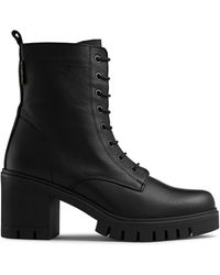 Russell & Bromley Women's Black Leather Combat Hi Heeled Boots, Size: Uk 4