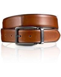 Russell & Bromley Men's Sleek Tan Leather Tango Classic Buckle Belt, Size: 90 Cm/30-32 Ins Waist - Brown