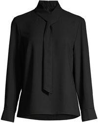 Misook Loop-and-tie Neck Shirt - Black