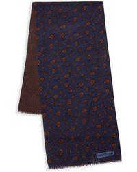 Corneliani Medallion Wool Scarf - Blue