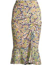 Saloni Olga Botanical Print Midi Skirt - Multicolour