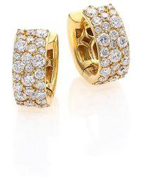 "Ippolita Glamazon Stardust Diamond & 18k Yellow Gold Huggie Hoop Earrings/0.55"" - Metallic"
