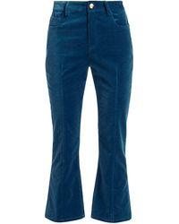 10 Crosby Derek Lam Velvet Crop Flare Pants - Blue