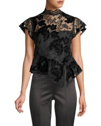 Nanette Lepore - Trickery Floral-embroidered Peplum Top - Lyst