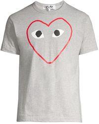 COMME DES GARÇONS PLAY Red Heart Sketch Tee - Gray