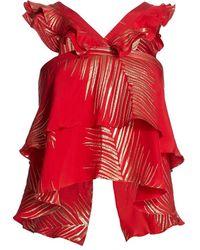 Adriana Iglesias Viena Ruffle Jacquard Top - Red