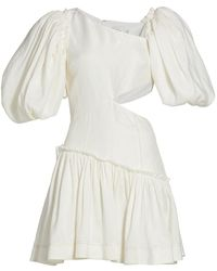 Aje. Chateau Puff-sleeve Mini Dress - White