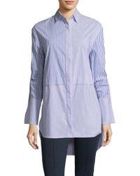St. John - Striped Button-front Shirt - Lyst