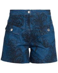 Moschino Printed Denim Shorts - Blue