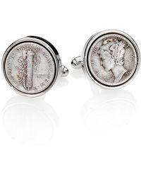 David Donahue Sterling Silver Dime Cuff Links - Metallic