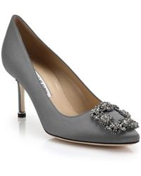 Manolo Blahnik | Hangisi 70 Crystal-embellished Satin Pumps | Lyst