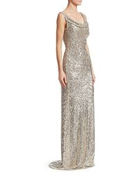 Naeem Khan Cowlneck Allover Sequin Column Gown - Metallic