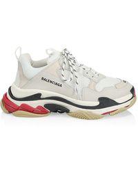 Balenciaga Men's Triple S Leather And Mesh Sneakers - White