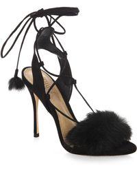 Schutz - Lori Suede & Rabbit Fur Heels - Lyst