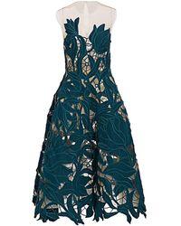 Oscar de la Renta Embroidered Cocktail Dress - Blue