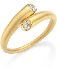 Carelle - Whirl Diamond & 18k Yellow Gold Bypass Ring - Lyst