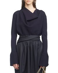 3.1 Phillip Lim Military Long-sleeve Ribbed Cowl-neck Sweater - Blue