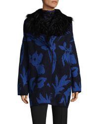 Fuzzi Fur Collar Palm Cocoon Coat - Blue