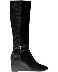 Cole Haan Lauralyn Leather Tall Wedge Boots - Black