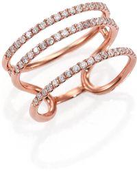 Meira T - Diamond & 14k Rose Gold Triple Band Ring - Lyst