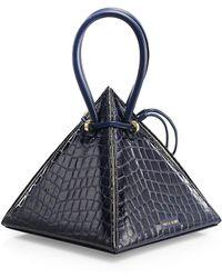 Nita Suri Lia Croc-embossed Leather Pyramid Top Handle Bag - Blue