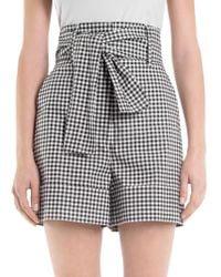 Sara Battaglia - Checked Tie Belt Shorts - Lyst
