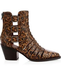 COACH Phoebe Studded Snake Print Leather Buckled Straps Block Heel Moto Booties - Brown