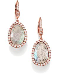 Meira T - Labradorite, Diamond & 14k Rose Gold Leverback Drop Earrings - Lyst