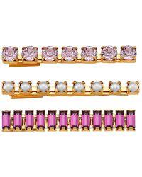 Lelet Purple Blush Crystal & Faux Pearl 3-piece Bobby Pin Set