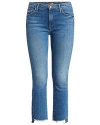 Mother The Insider High-rise Crop Step Fray Hem Jeans - Blue