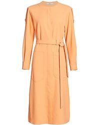 Tibi Chalky Draped Cargo Shirtdress - Orange