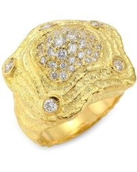 Saks Fifth Avenue Wave 18k Yellow Gold & Diamond Statement Ring - Metallic