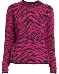 Saint Laurent Zebra Stripe Sweater - Purple