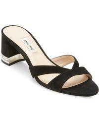 Miu Miu - Metallic Crystal Block-heel Sandals - Lyst