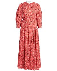 Chloé Flower Printed Crepe Maxi Dress - Red
