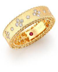 Roberto Coin - Princess Diamond & 18k Yellow Gold Band Ring - Lyst