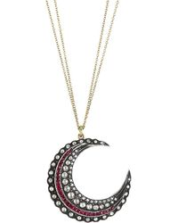 Renee Lewis 18k Yellow Gold, Sterling Silver, Diamond & Crescent Moon Necklace - Red