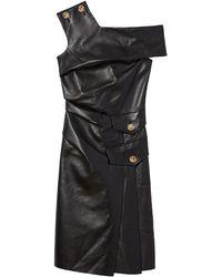 Proenza Schouler One-shoulder Buttoned Leather Dress - Black