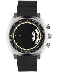 Gucci Ya157301 Grip Stainless Steel And Rubber Watch - Black