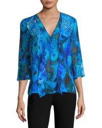 Elie Tahari - Faith Peacock-print Blouse - Lyst