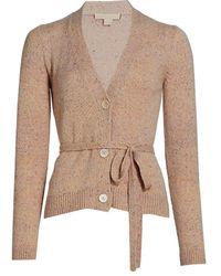 Brock Collection Coarsehair Samira Belted Cashmere Cardigan - Natural