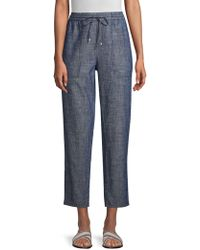 Eileen Fisher - Organic Chambray Drawstring Ankle Pants - Lyst