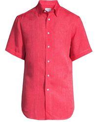 Brioni Short-sleeve Linen Shirt - Red