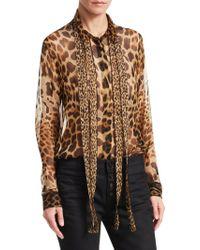 a7a41e33c6d874 Saint Laurent - Leopard Print Lavelliere Blouse - Lyst. Saint Laurent. Leopard  Print Lavelliere Blouse. $1,990. Saks Fifth Avenue