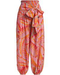 FARM Rio Bright Forest Smocked Waist Pants - Orange