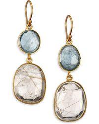 Lena Skadegard - Rutilated Quartz, Moss Aquamarine & 18k Yellow Gold Double-drop Earrings - Lyst