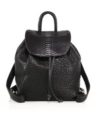 Mr. Parker Bubble Leather & Python Backpack - Black
