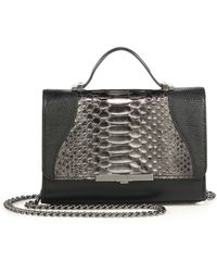 Khirma Eliazov Diamond Mini Metallic Python, Lizard & Leather Crossbody Bag - Black