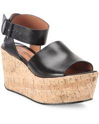 10 Crosby Derek Lam Faye Leather Cork Platform Sandals - Black